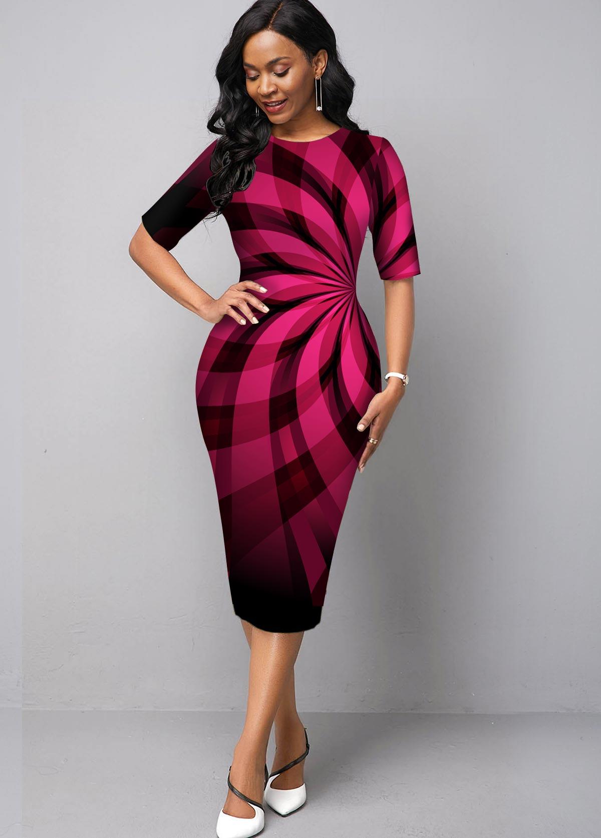Ombre Round Neck Geometric Print Dress