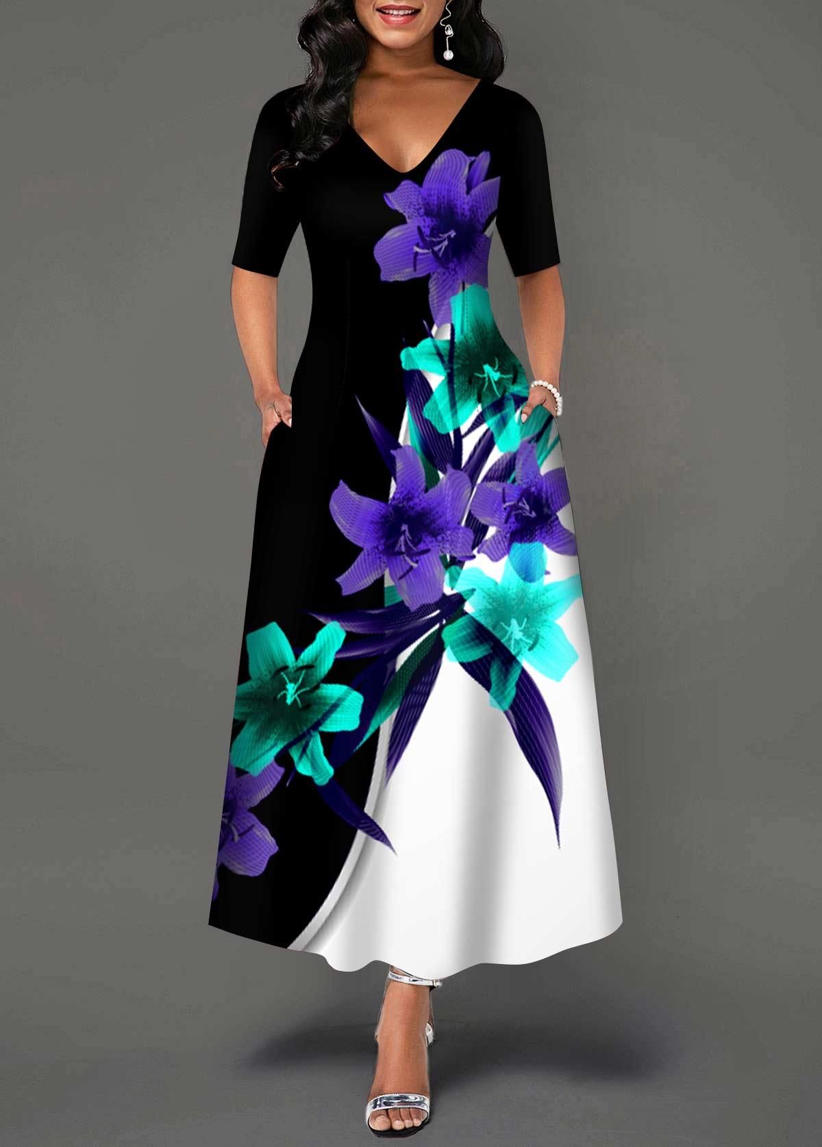 V Neck Floral Print Double Pocket Dress