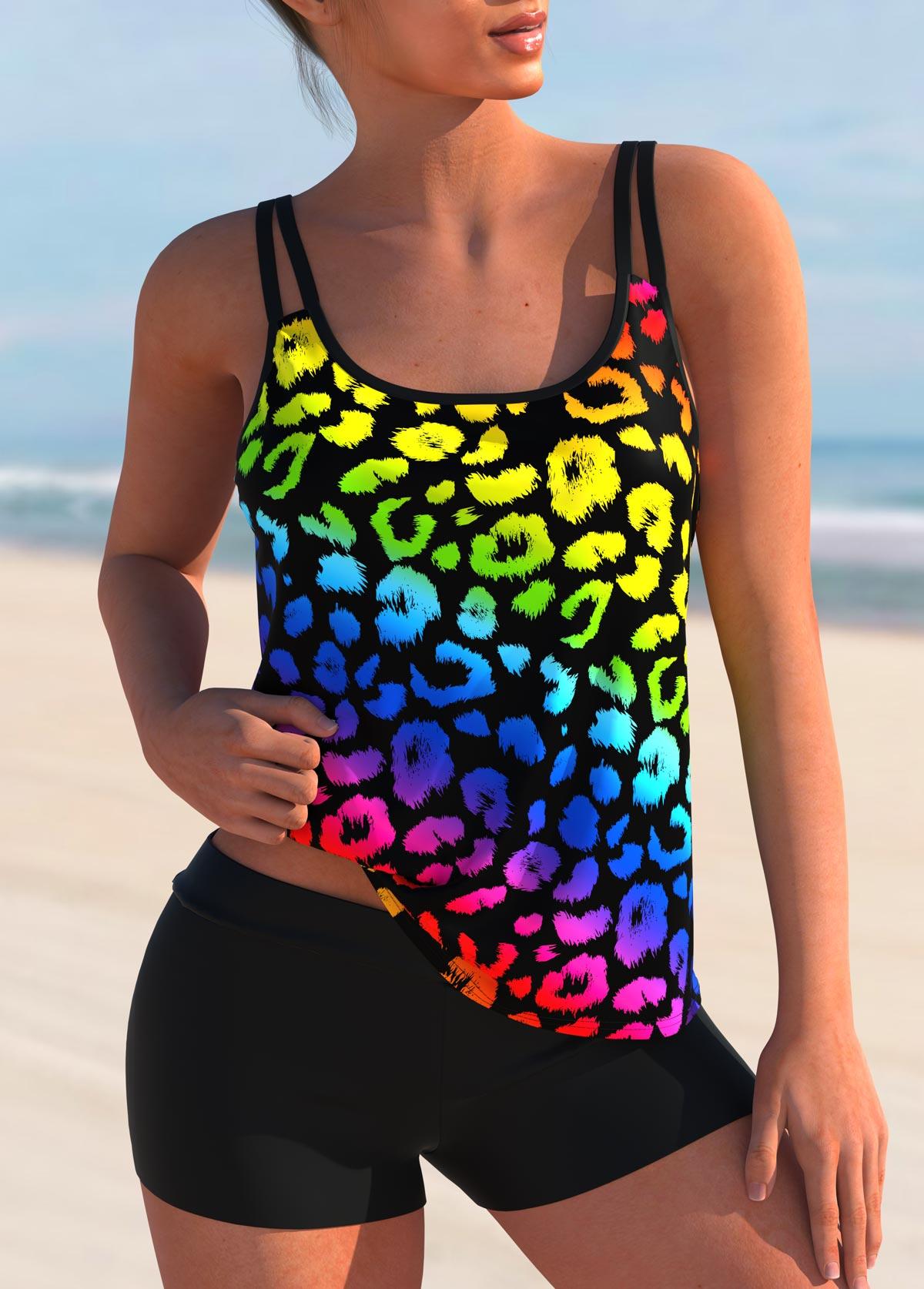 Rainbow Color Double Straps Leopard Tankini Set