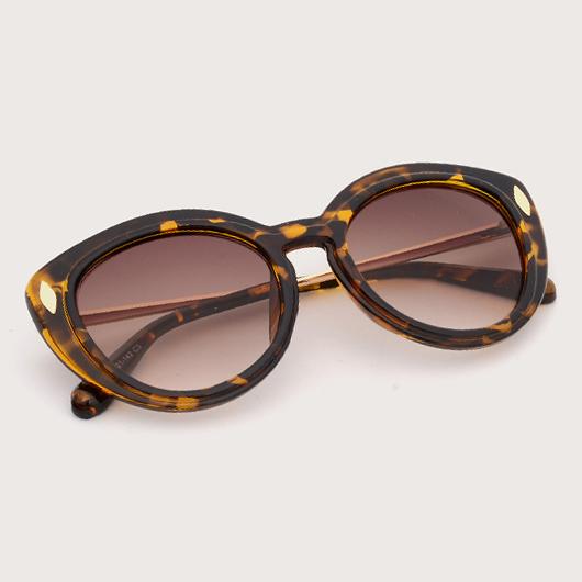 Brown TR Metal Detail Sunglasses