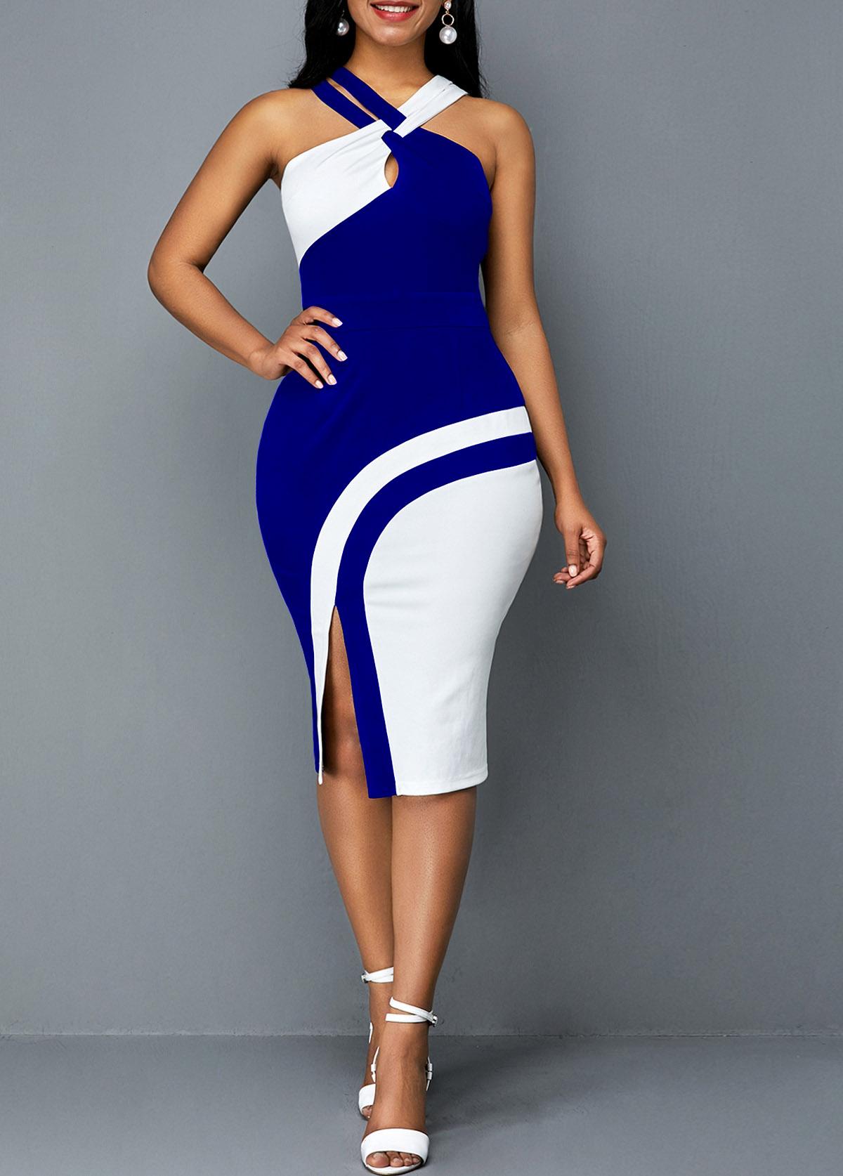 Contrast Sleeveless Side Slit Bodycon Dress