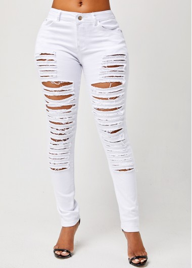 Women's Jeans On Sale, Shredded Solid Skinny Mid Waist Jeans