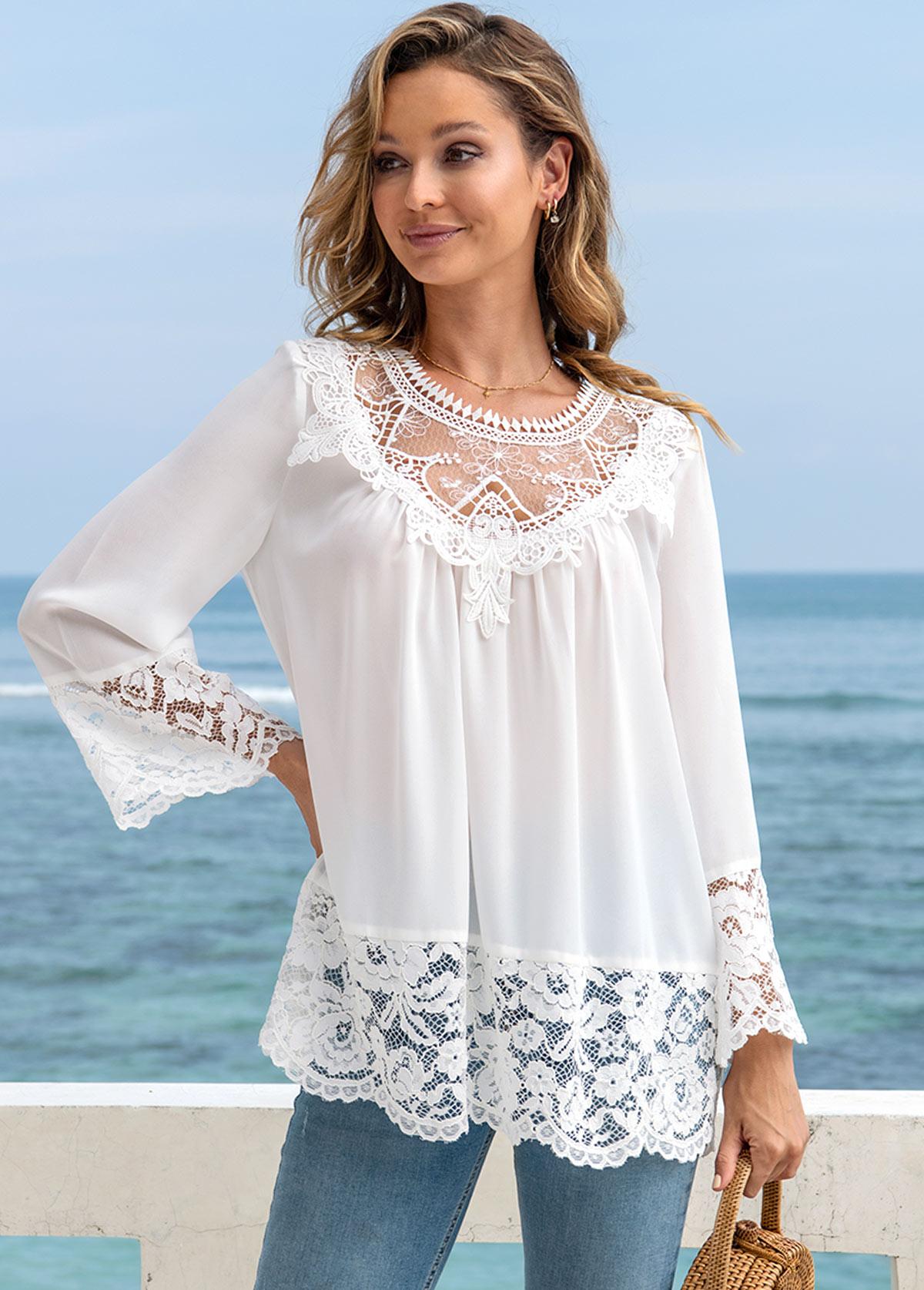 Lace Stitching Long Sleeve Round Neck T Shirt