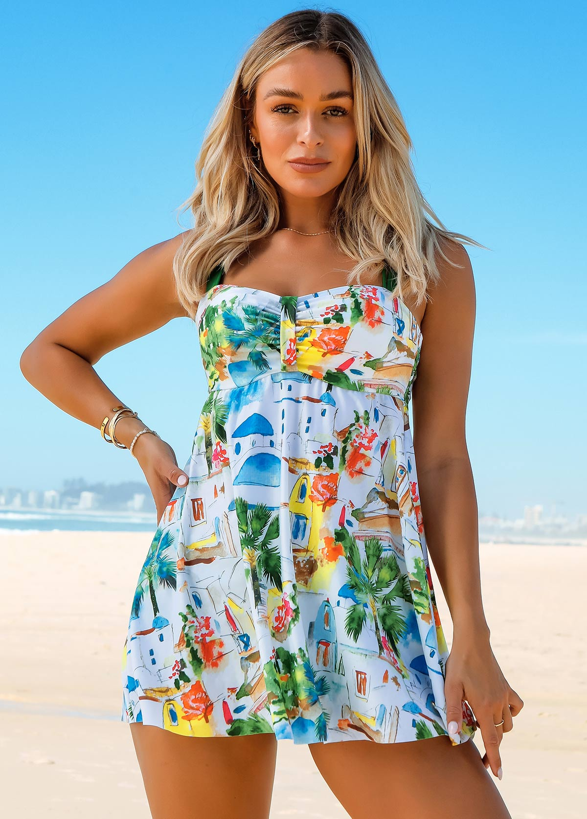 Printed Center Shirred Cross Strap Swimdress and Panty