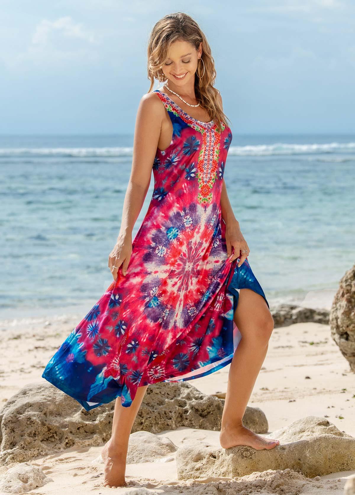 Printed Round Neck Sleeveless Dress