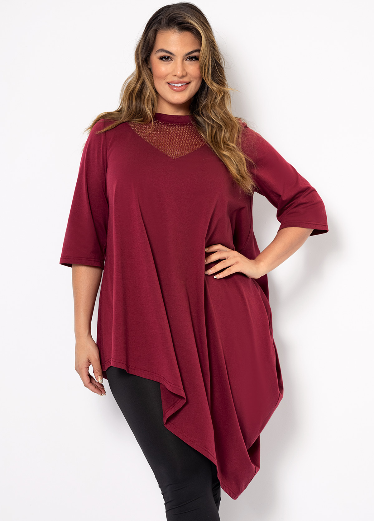 Asymmetric Hem Plus Size Solid T Shirt