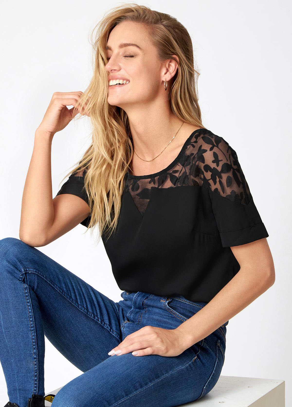 Lace Stitching Short Sleeve Solid T Shirt