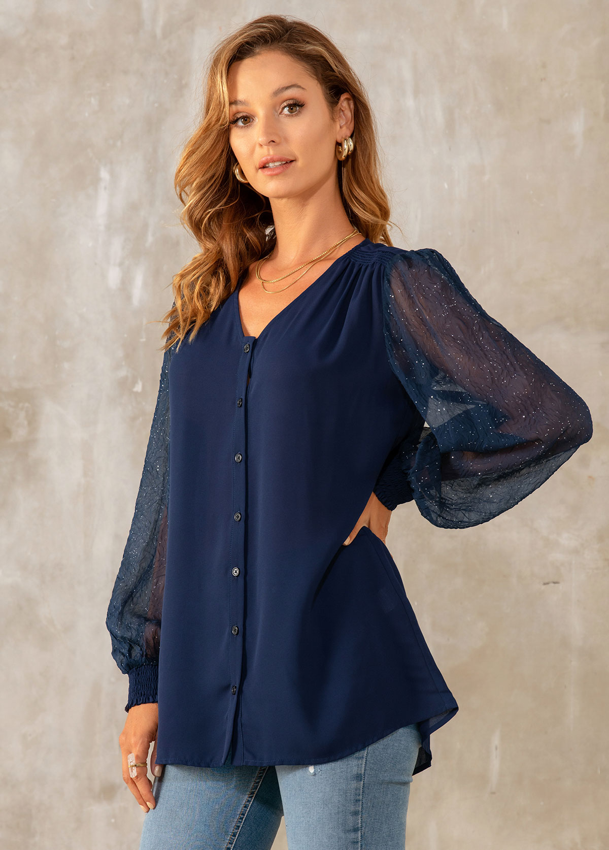 Sequin Solid Long Sleeve Button Detail Blouse