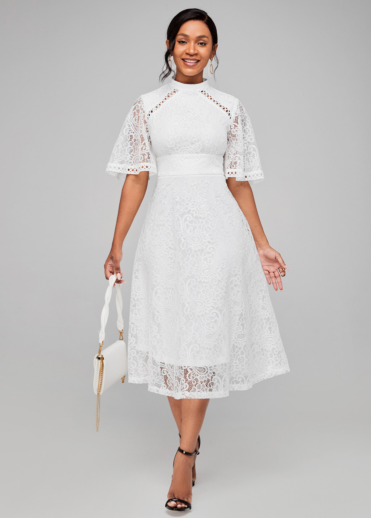 Lace Stitching Solid Half Sleeve Dress