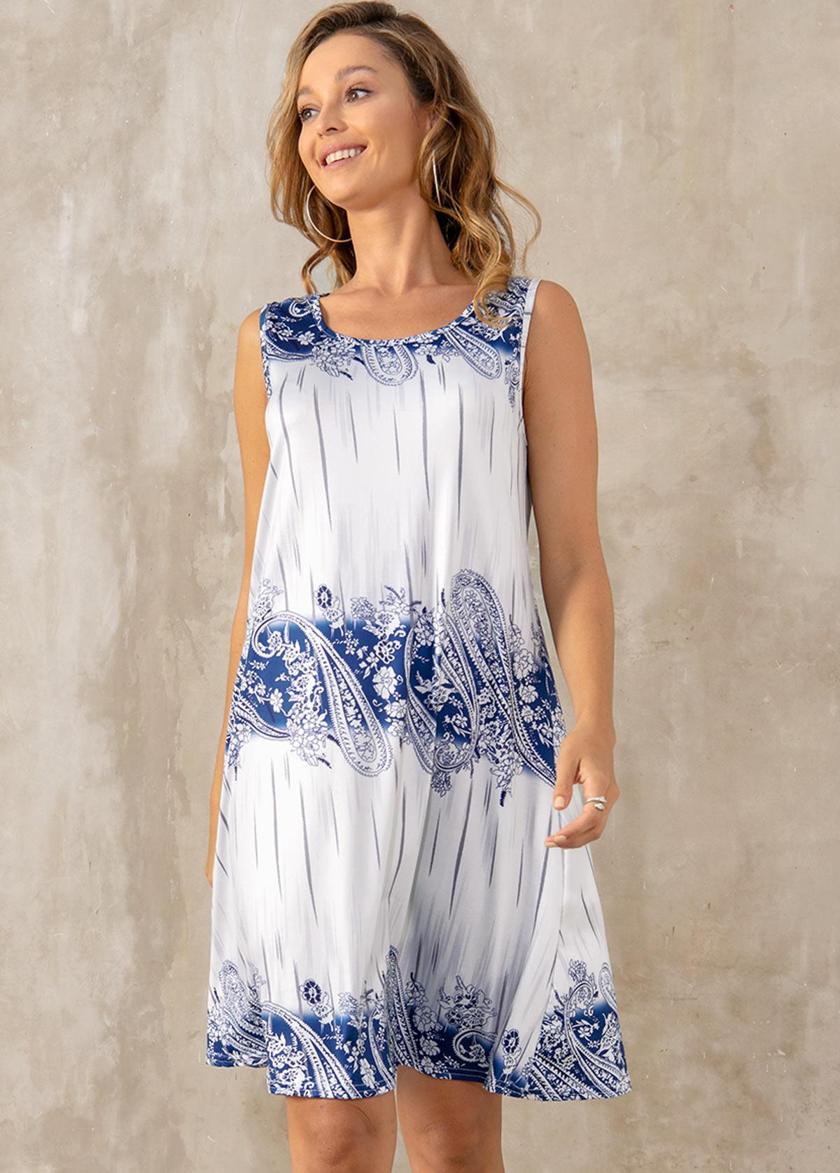 Paisley Print Round Neck Sleeveless Dress