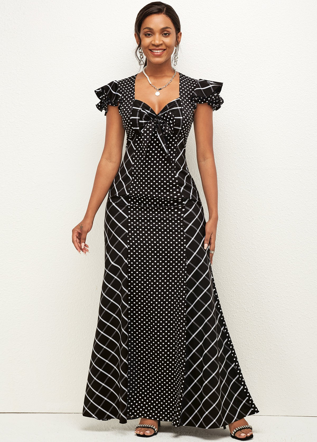 Polka Dot Bowknot Sweetheart Neckline Dress