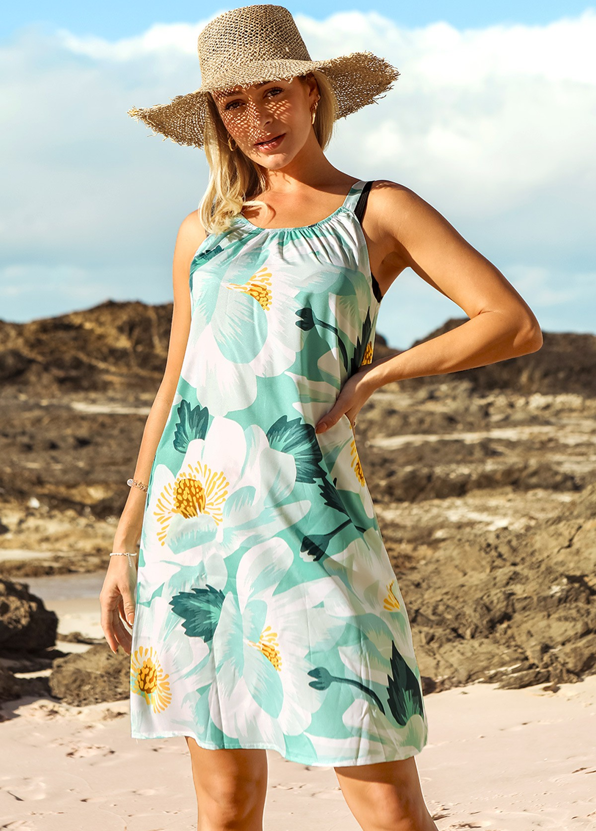 Wide Strap Floral Print Shirred Beach Dress