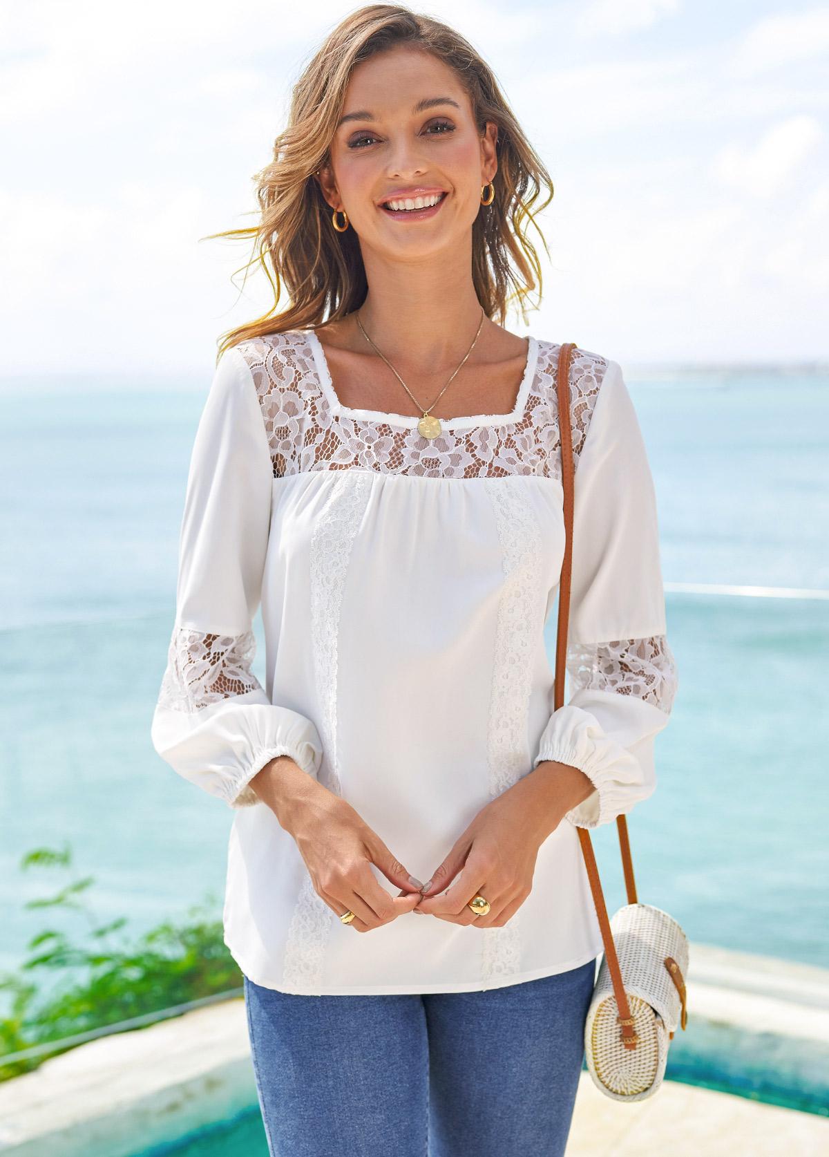 Square Neck Lace Stitching 3/4 Sleeve T Shirt