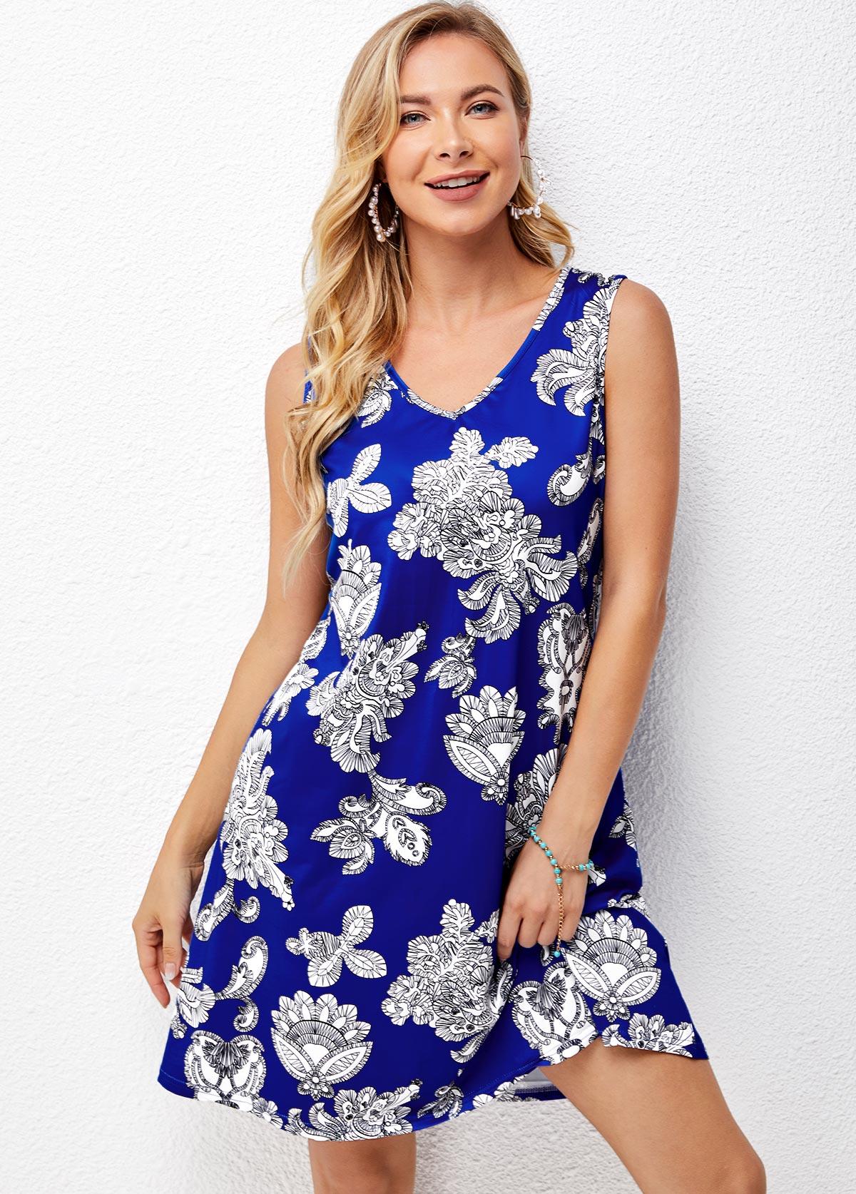 Sleeveless V Neck Printed Blue Dress