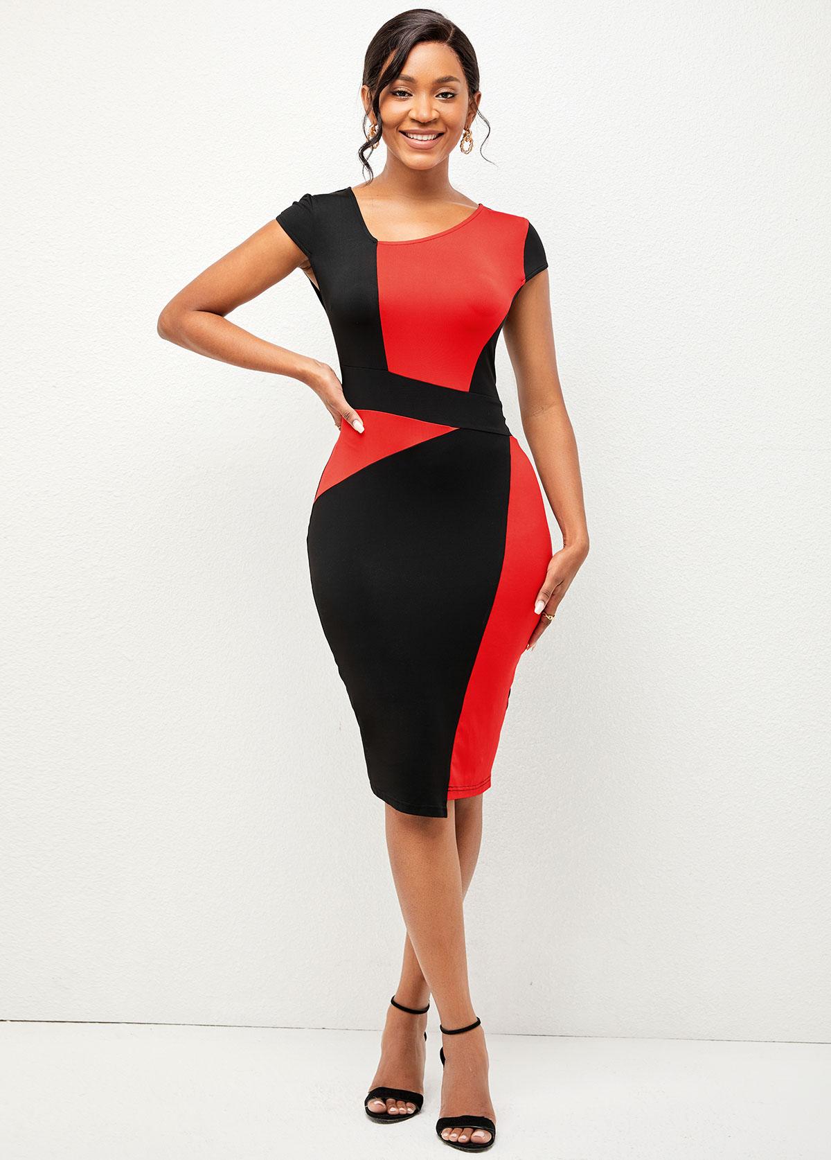Contrast V Neck Short Sleeve Dress