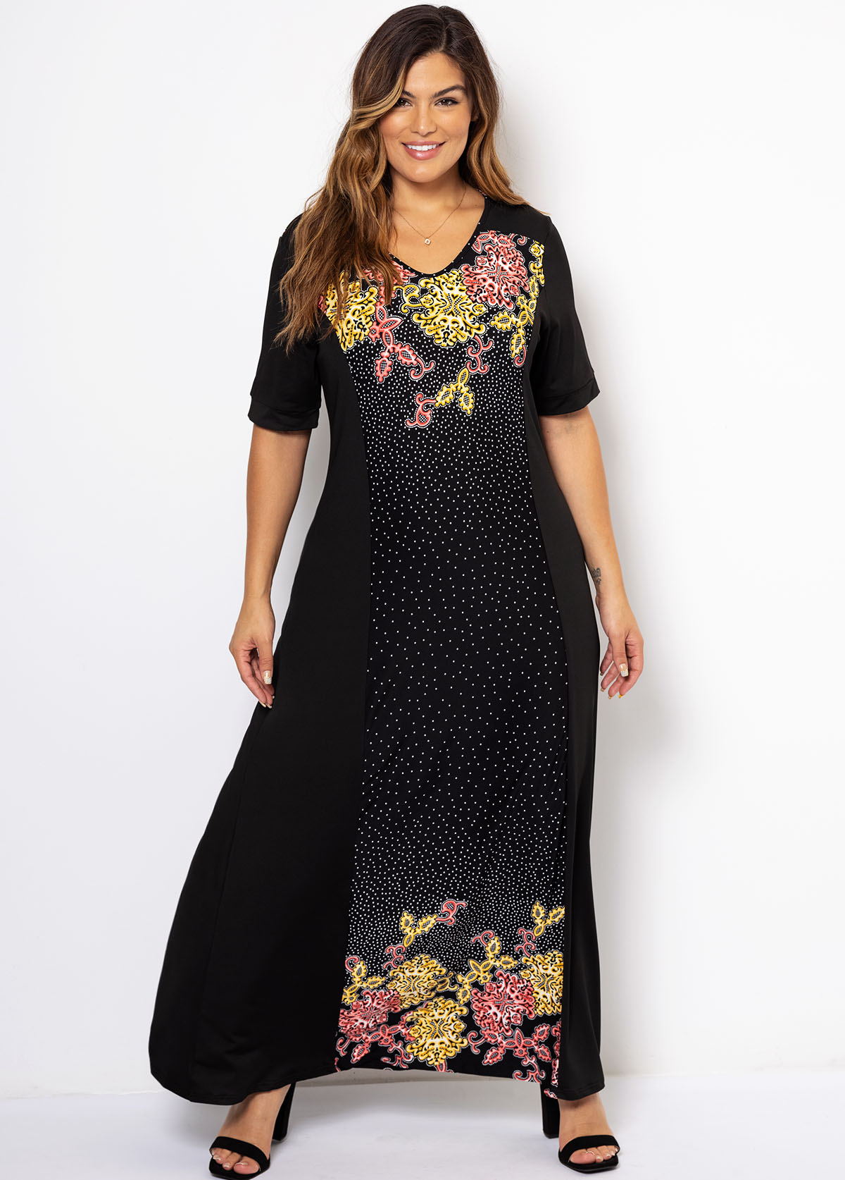 Plus Size Short Sleeve V Neck Dress