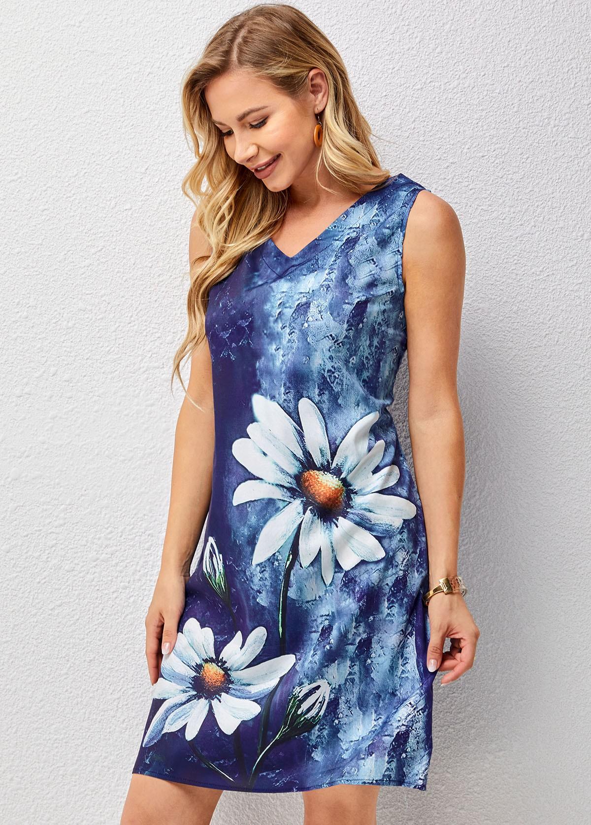 V Neck Floral Print Sleeveless Dress
