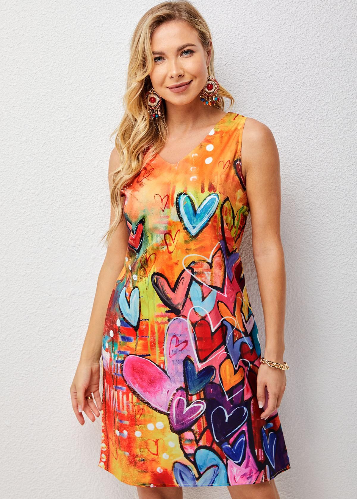 V Neck Sleeveless Heart Print Dress