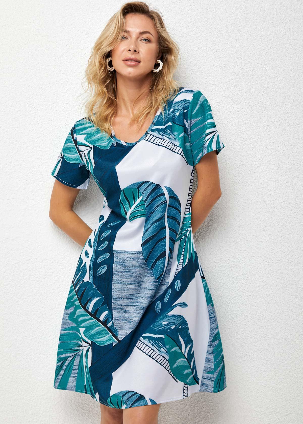 V Neck Leaf Print Short Sleeve Dress