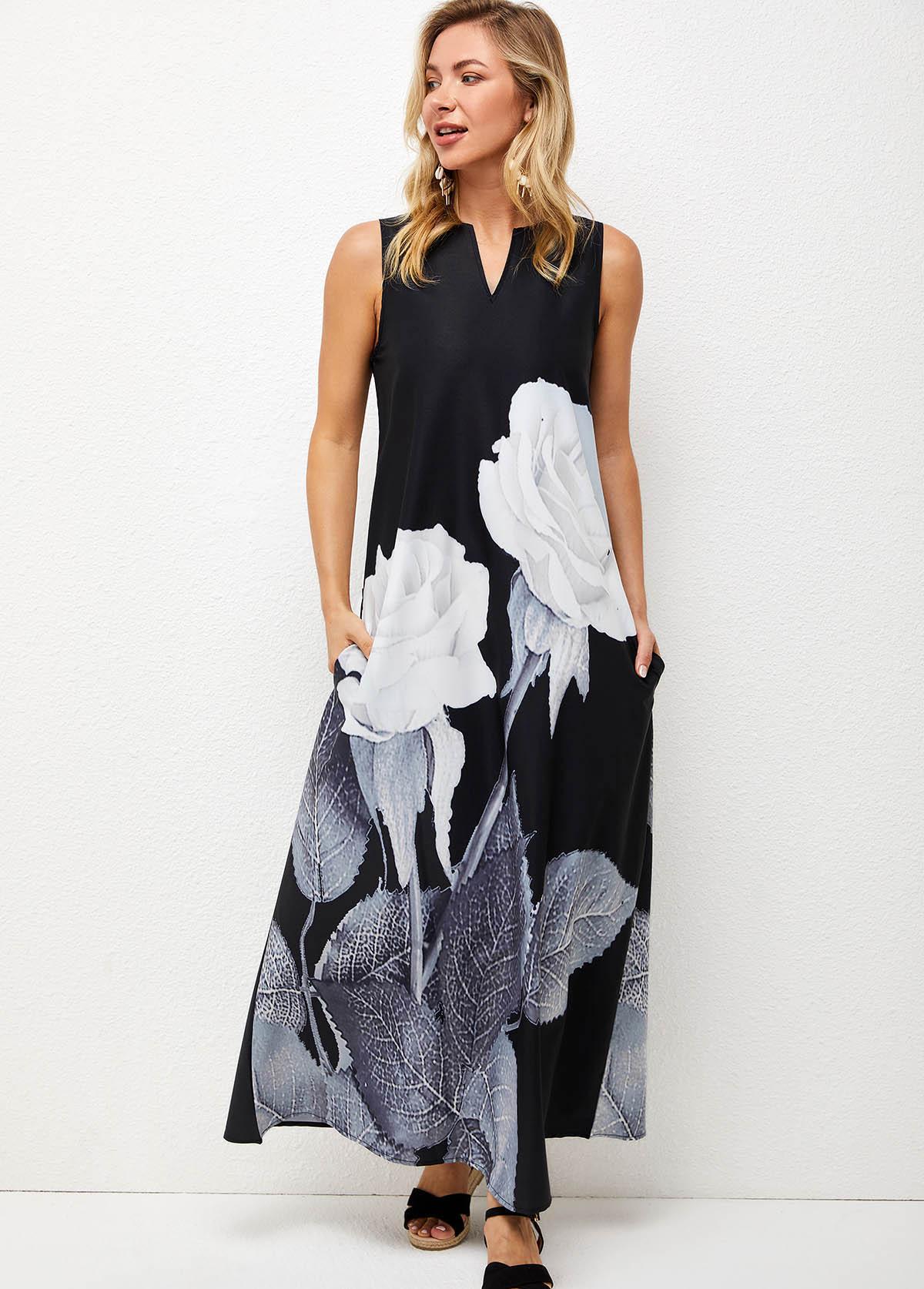 Floral Print Split Neck Double Pocket Dress