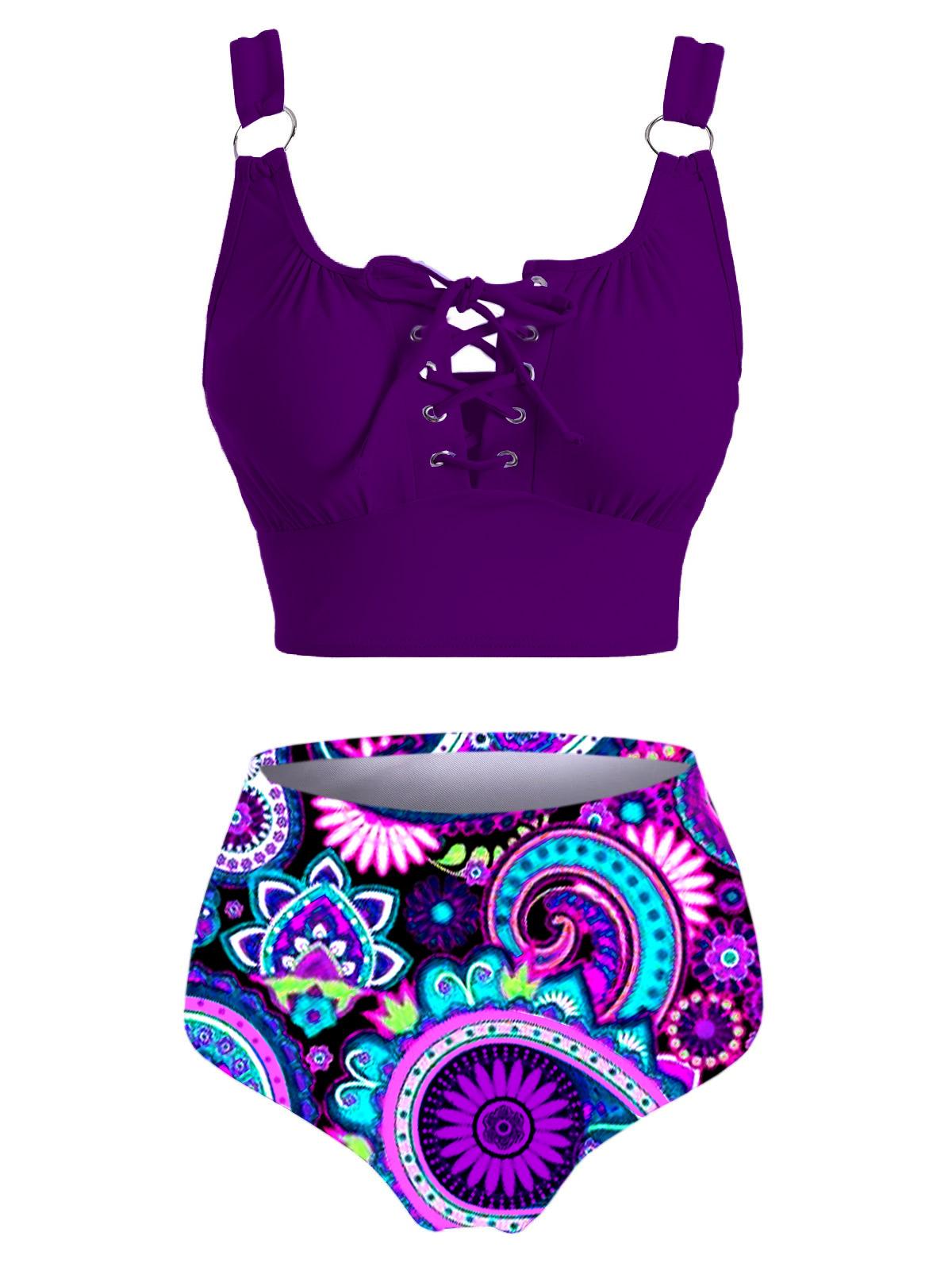 Lace Up Purple Tribal Print Bikini Set