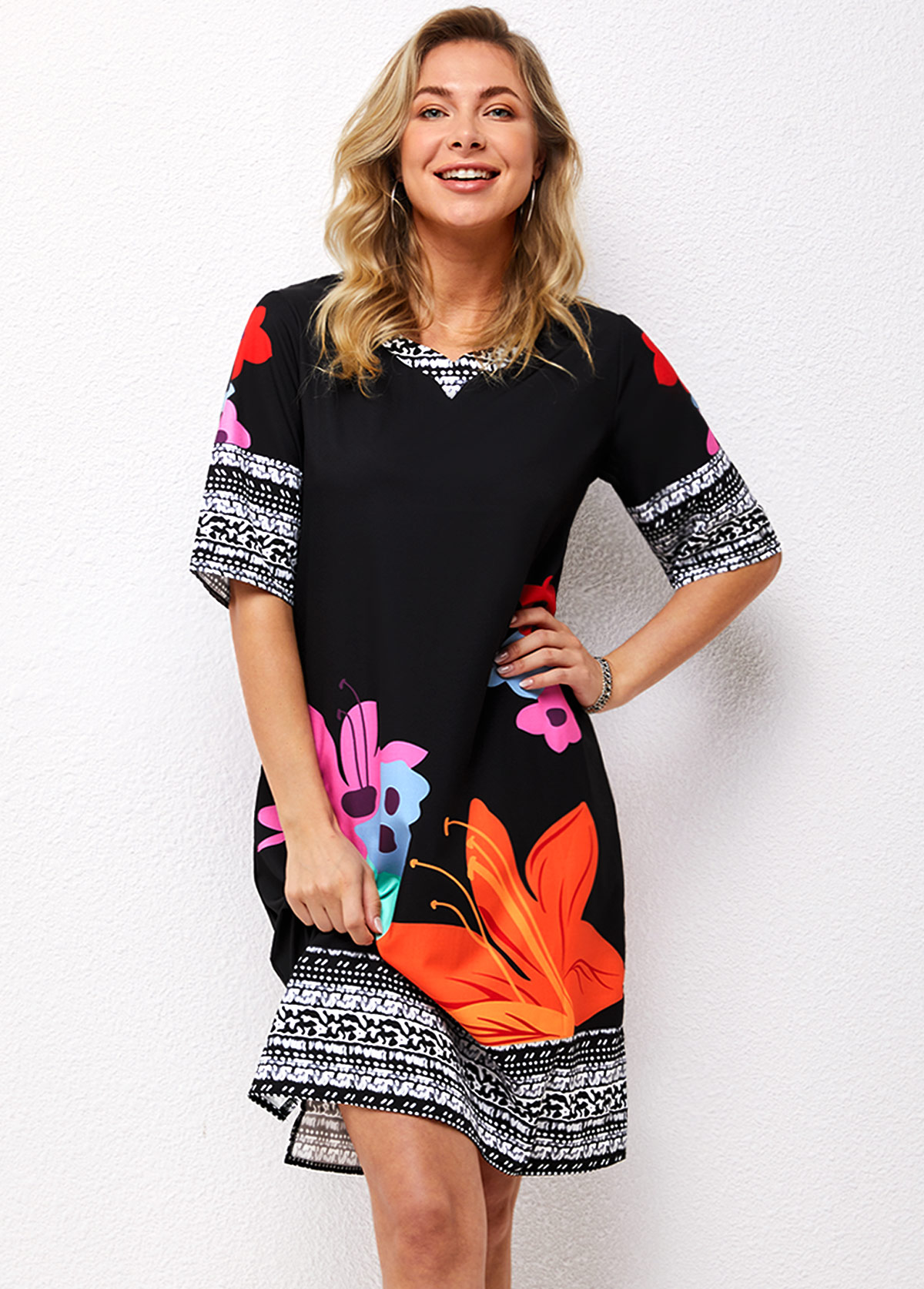 Three Quarters Sleeve Floral Print Dress
