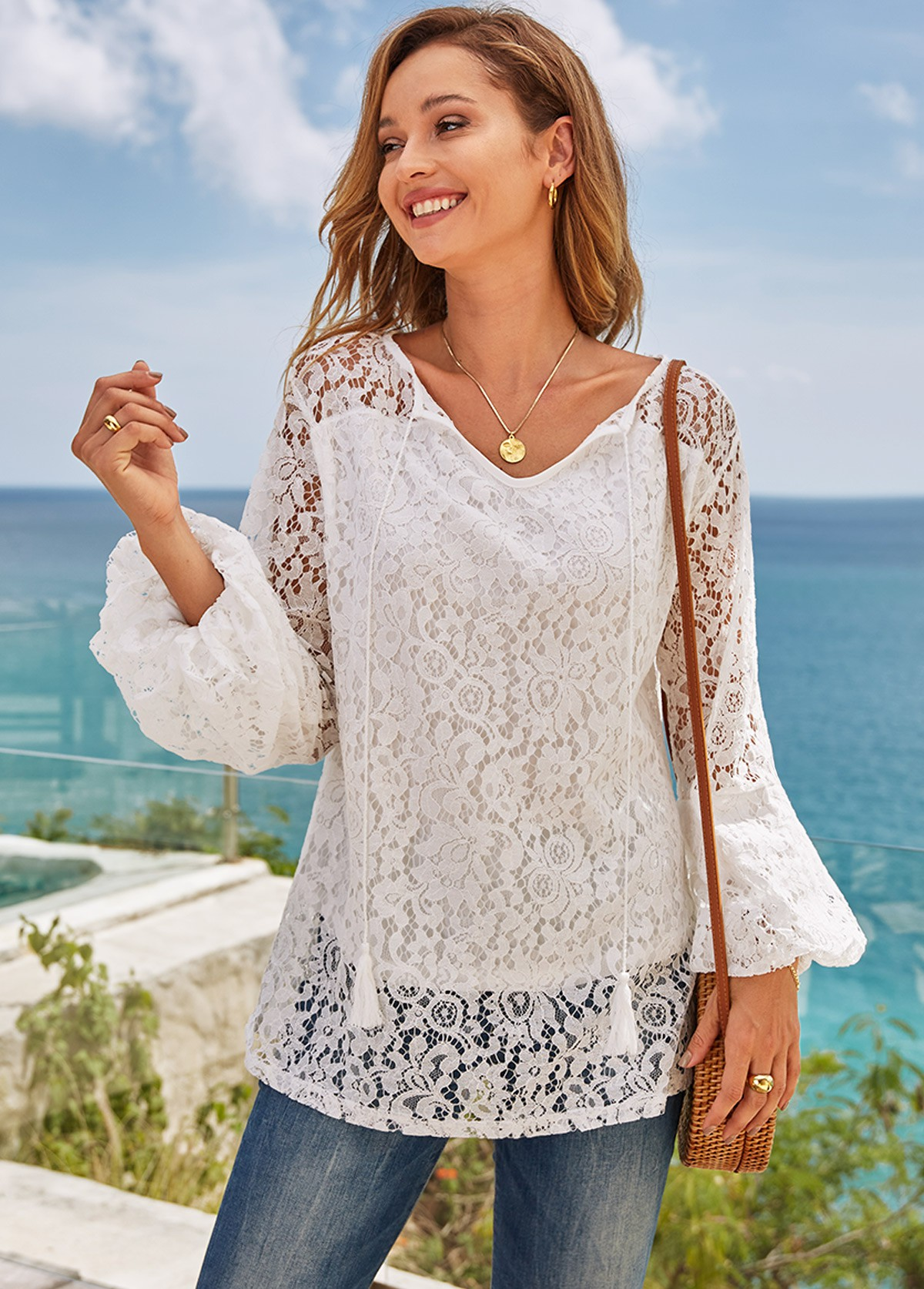 Tie Front Lantern Sleeve Lace T Shirt