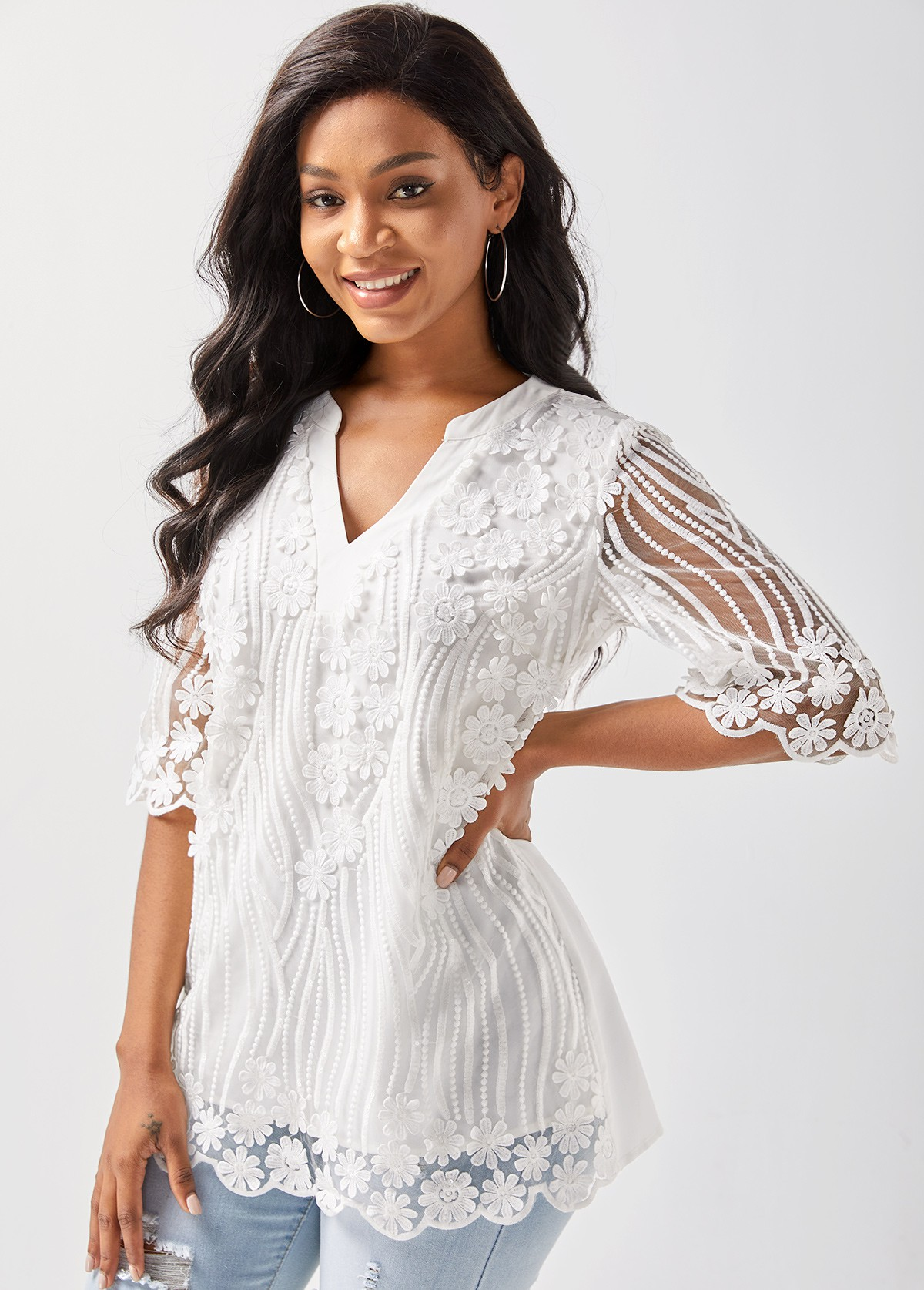 Lace Stitching Split Neck 3/4 Sleeve T Shirt