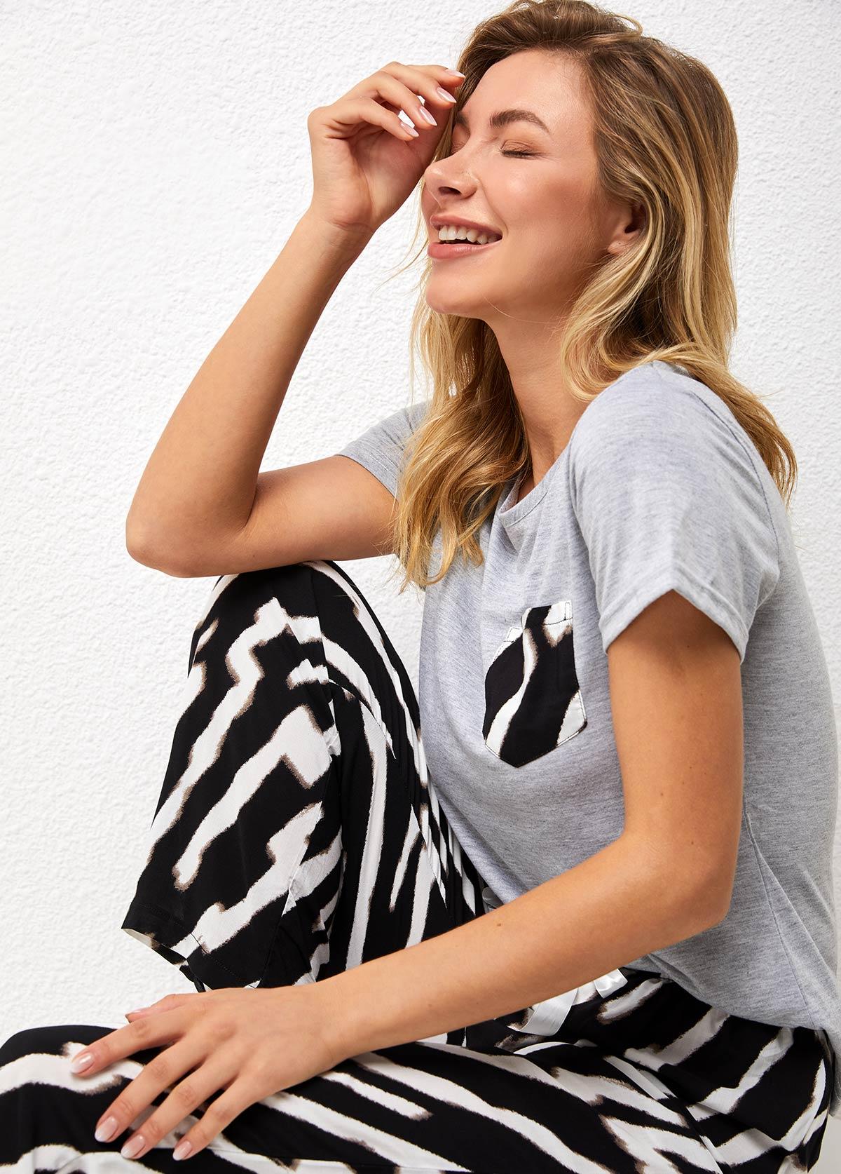 Zebra Print Short Sleeve Round Neck Loungewear Set