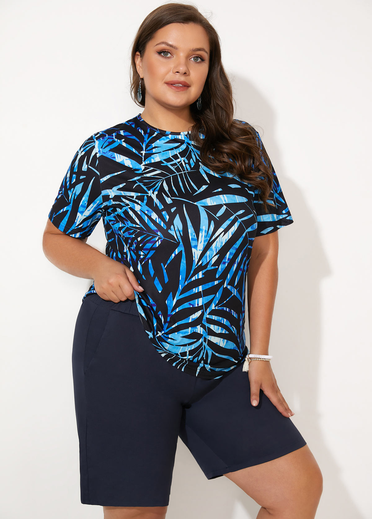 Plus Size Leaf Print Short Sleeve Tankini Set