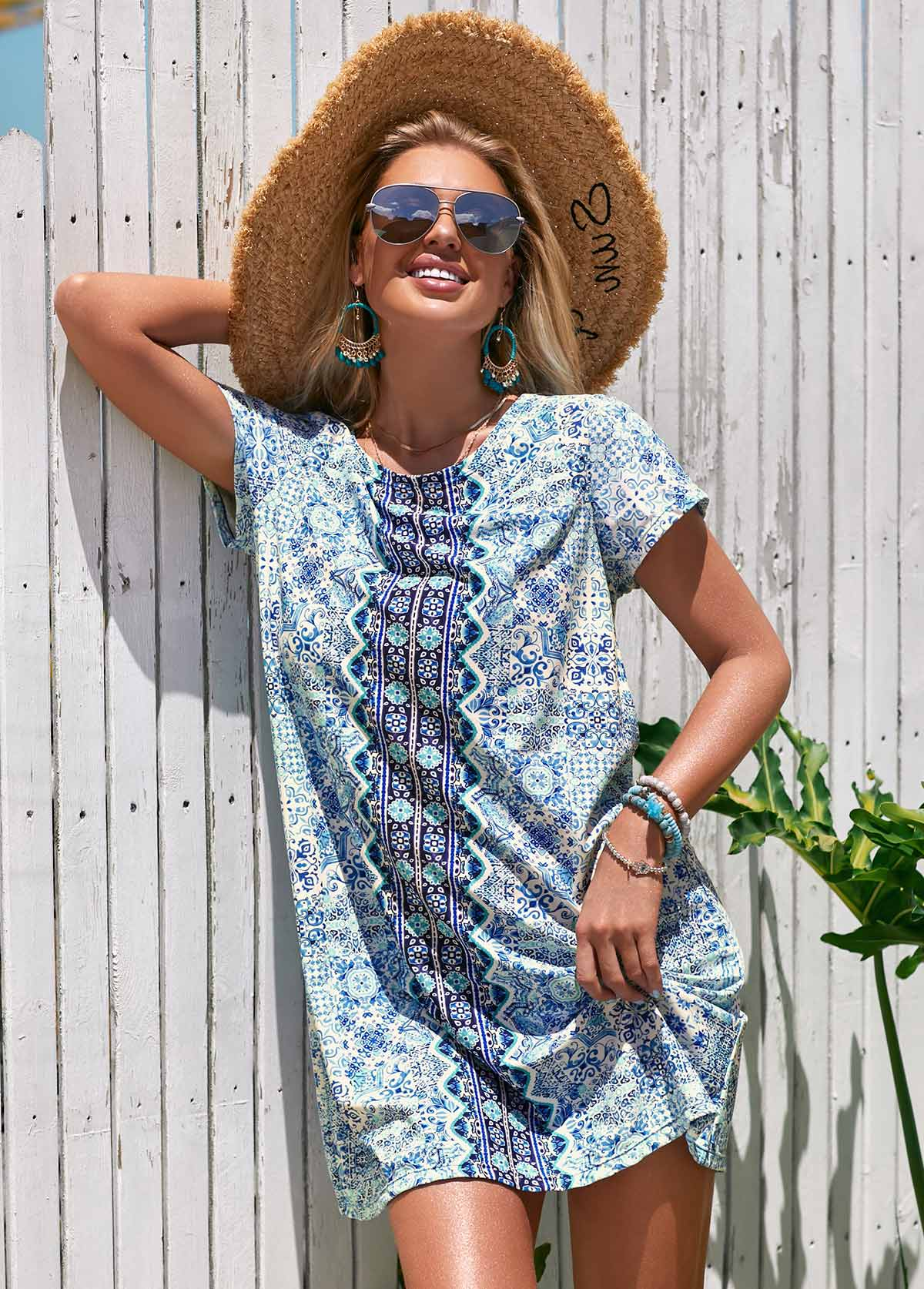 Short Sleeve Round Neck Printed Cover Up