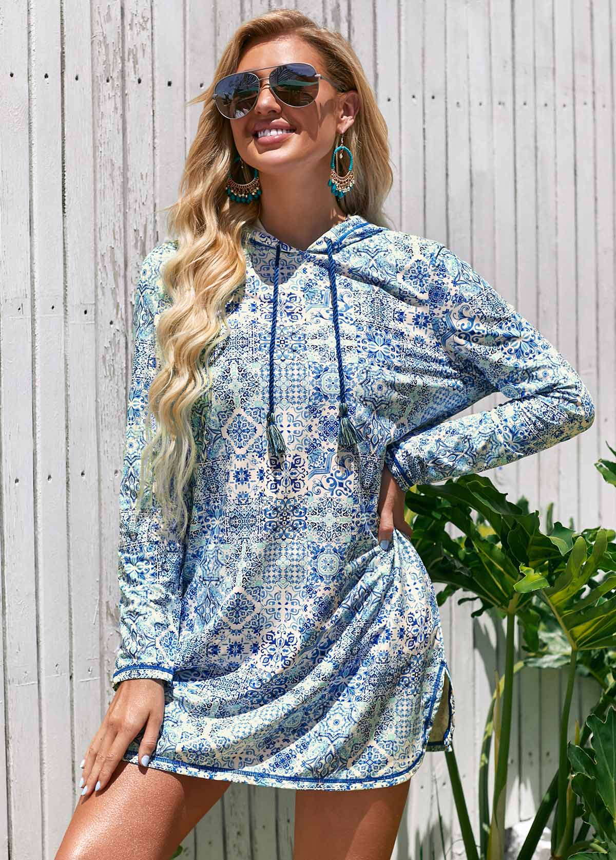 Printed Long Sleeve Hooded Collar Cover Up