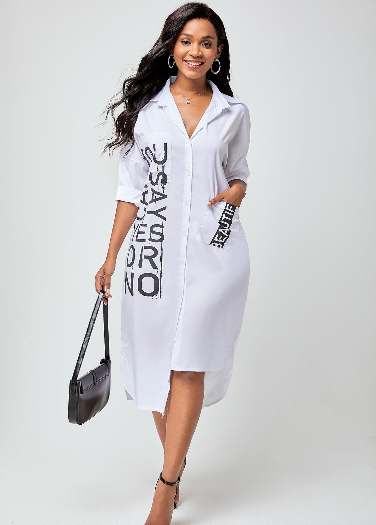 Notch Collar Letter Print Pocket Dress