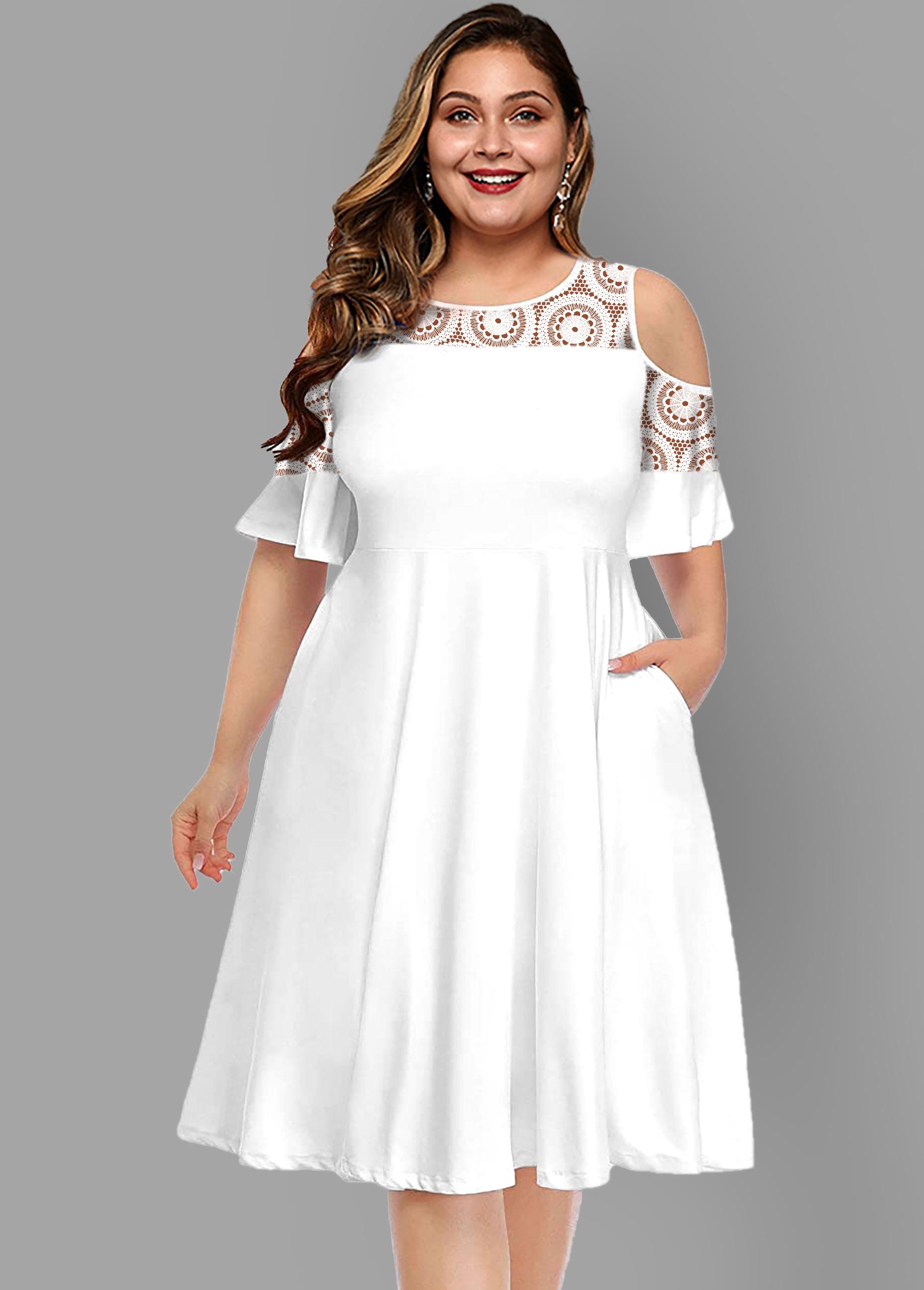 Lace Patchwork Plus Size Cold Shoulder Dress