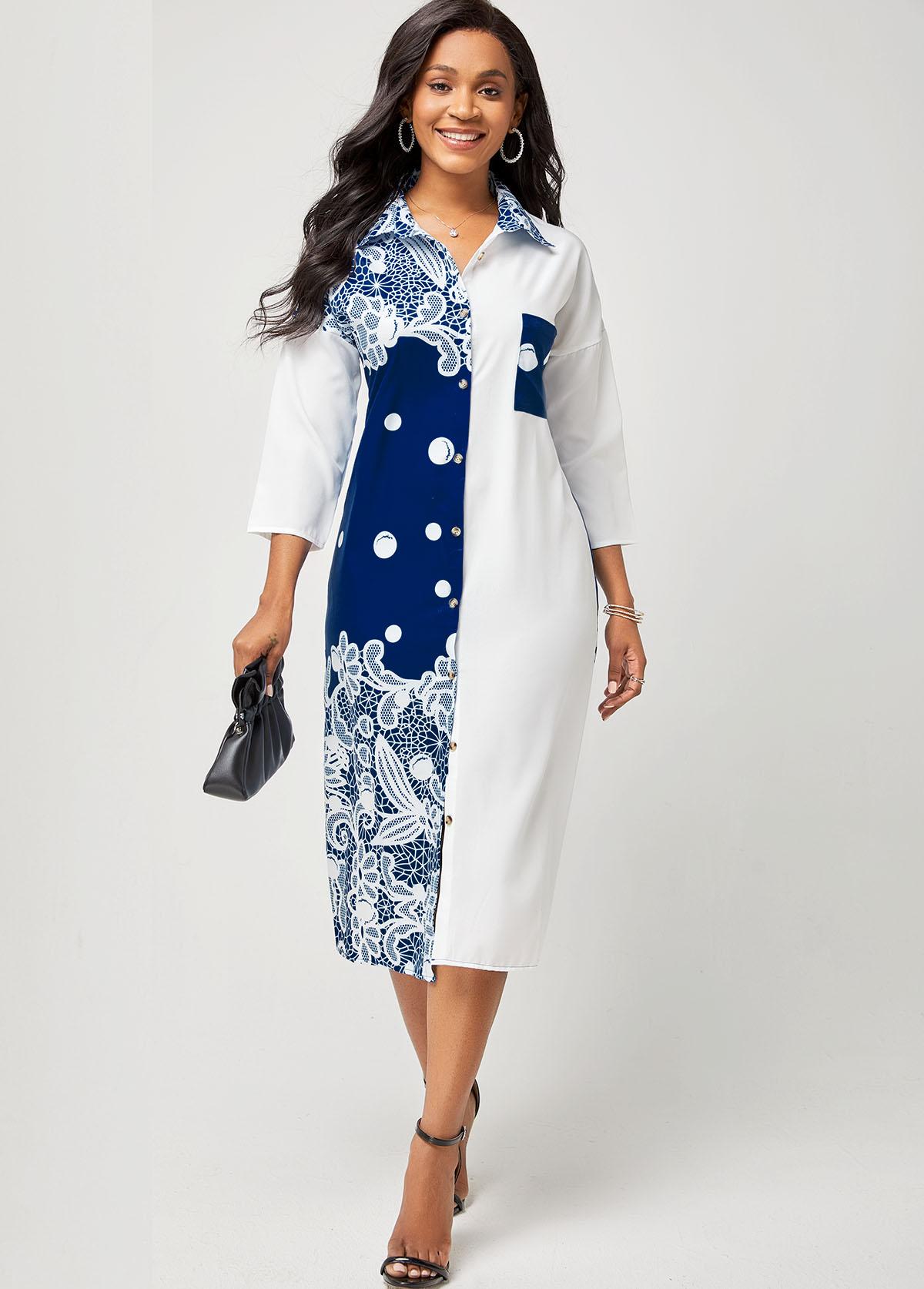 Printed Turndown Collar Button Up Dress