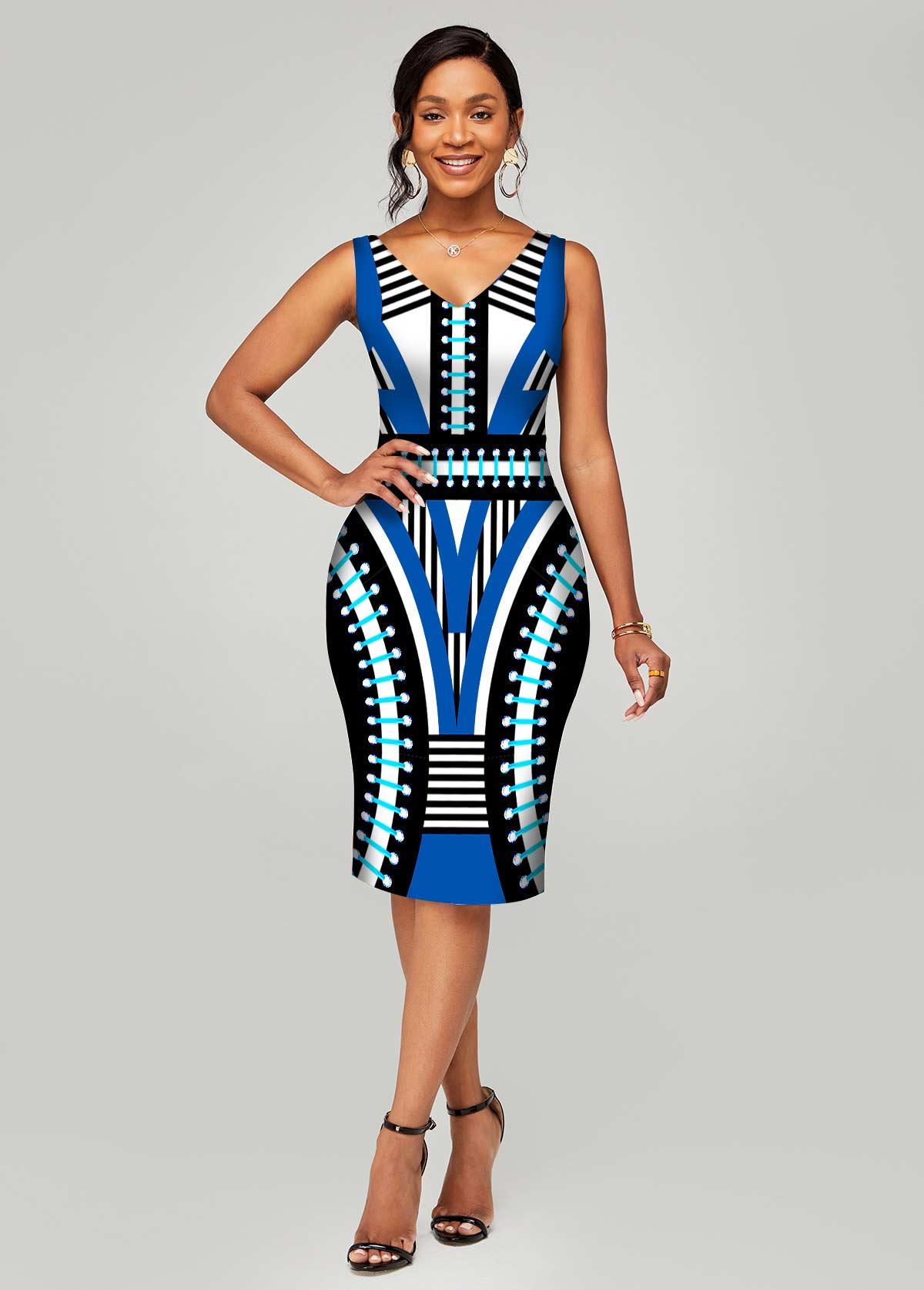 Sleeveless V Neck Geometric Print Dress