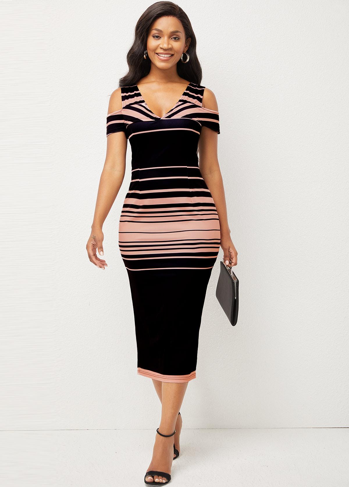 Striped V Neck Cold Shoulder Bodycon Dress