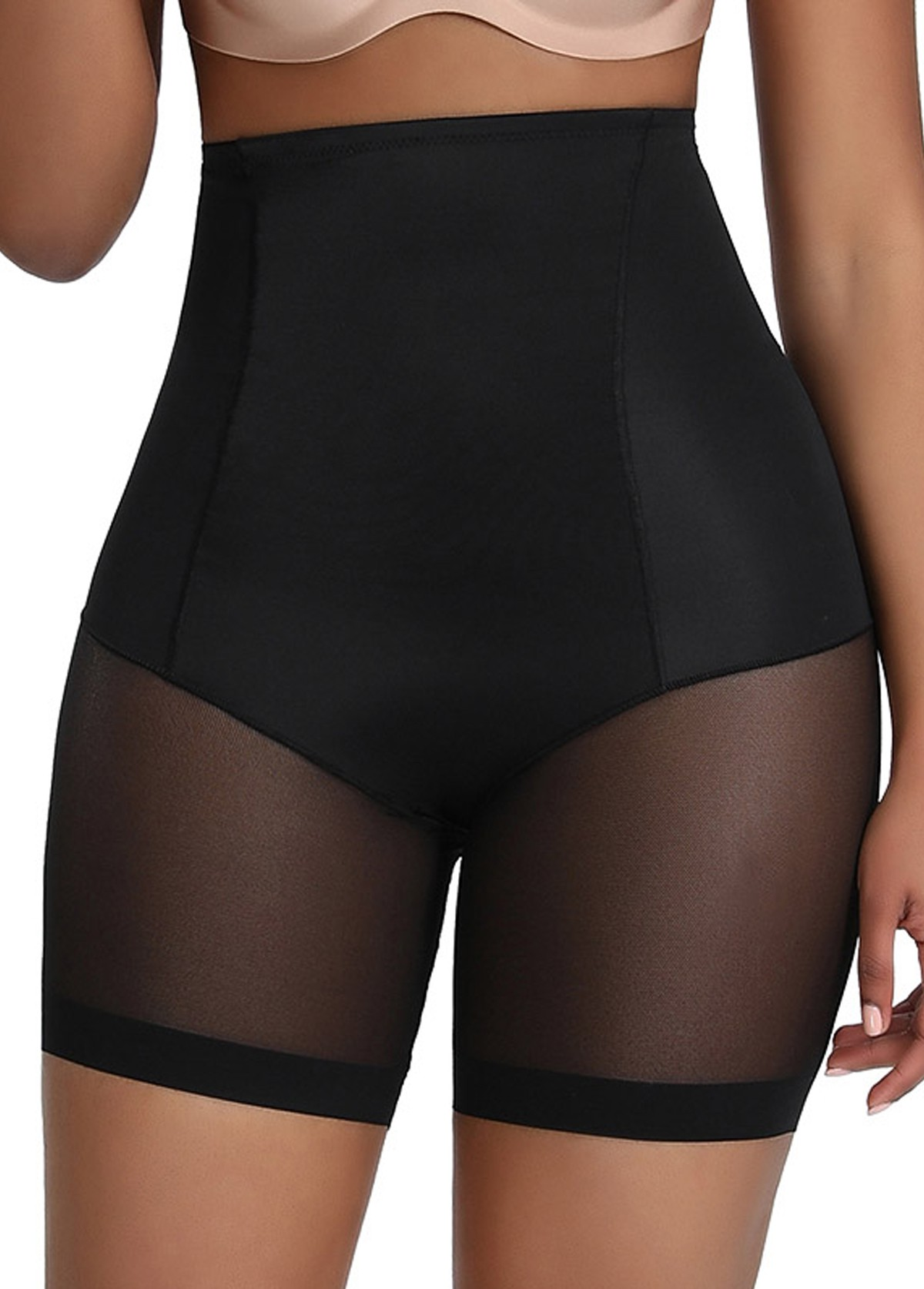 Black Solid High Waisted Panties