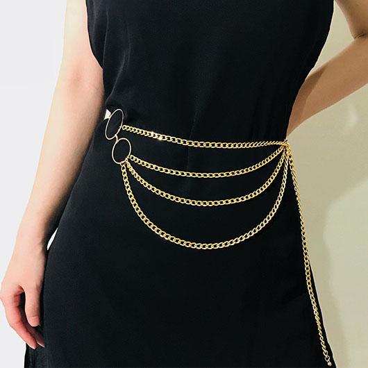 Gold Metal Detail Layered Design Belt