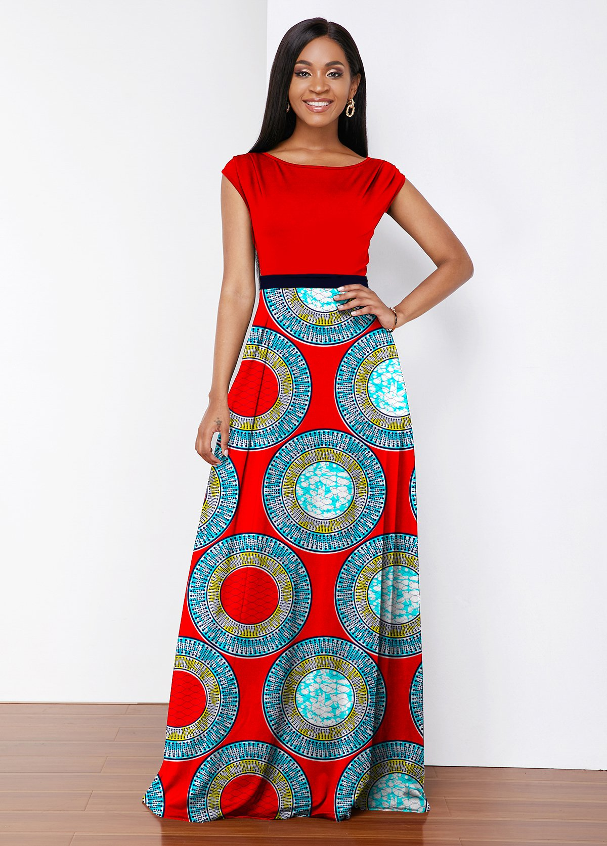 Round Neck Tribal Print Maxi Dress