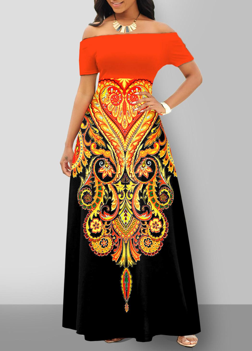 Tribal Print Off Shoulder Short Sleeve Dress