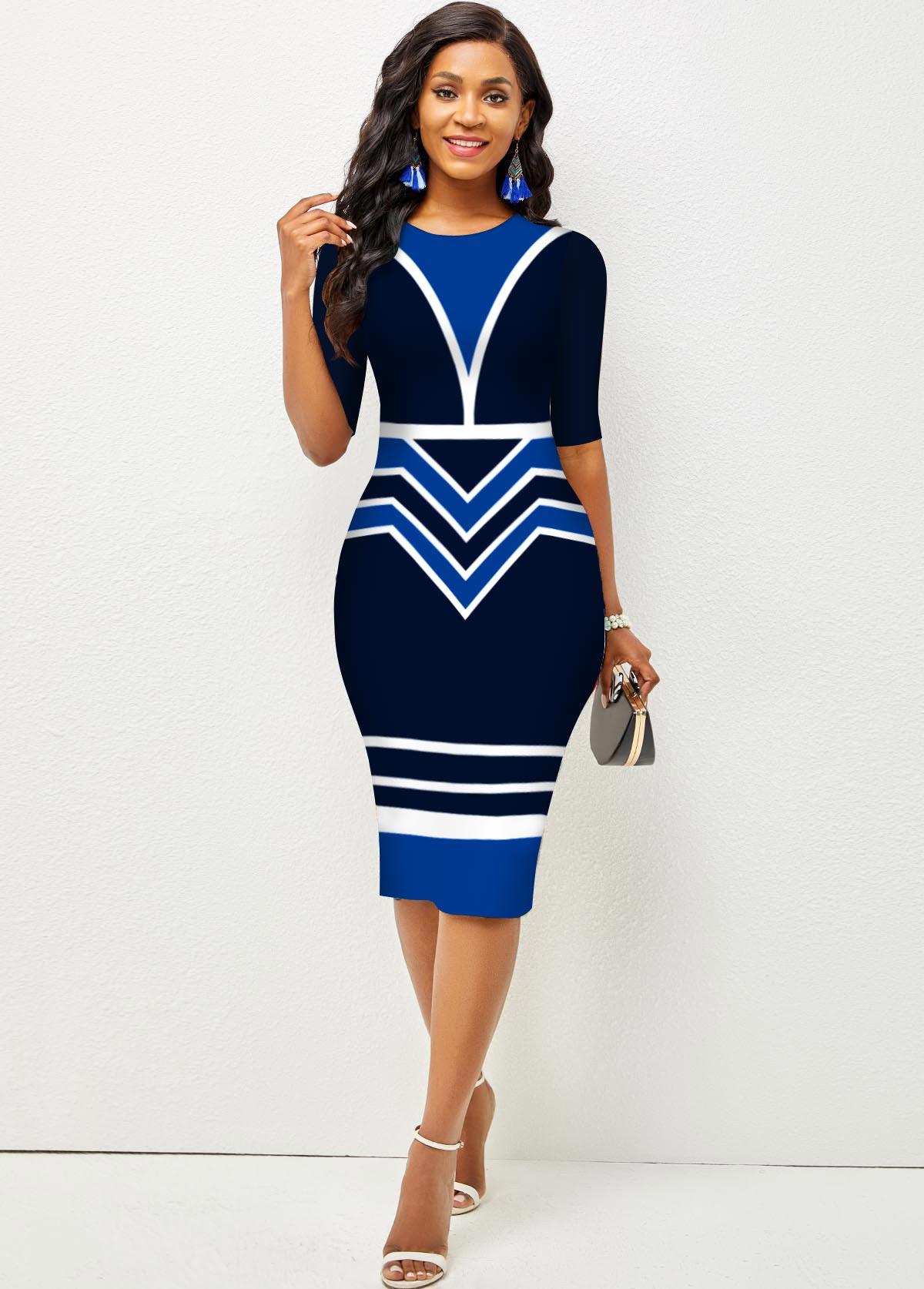 Stripe and Geometric Print Round Neck Dress