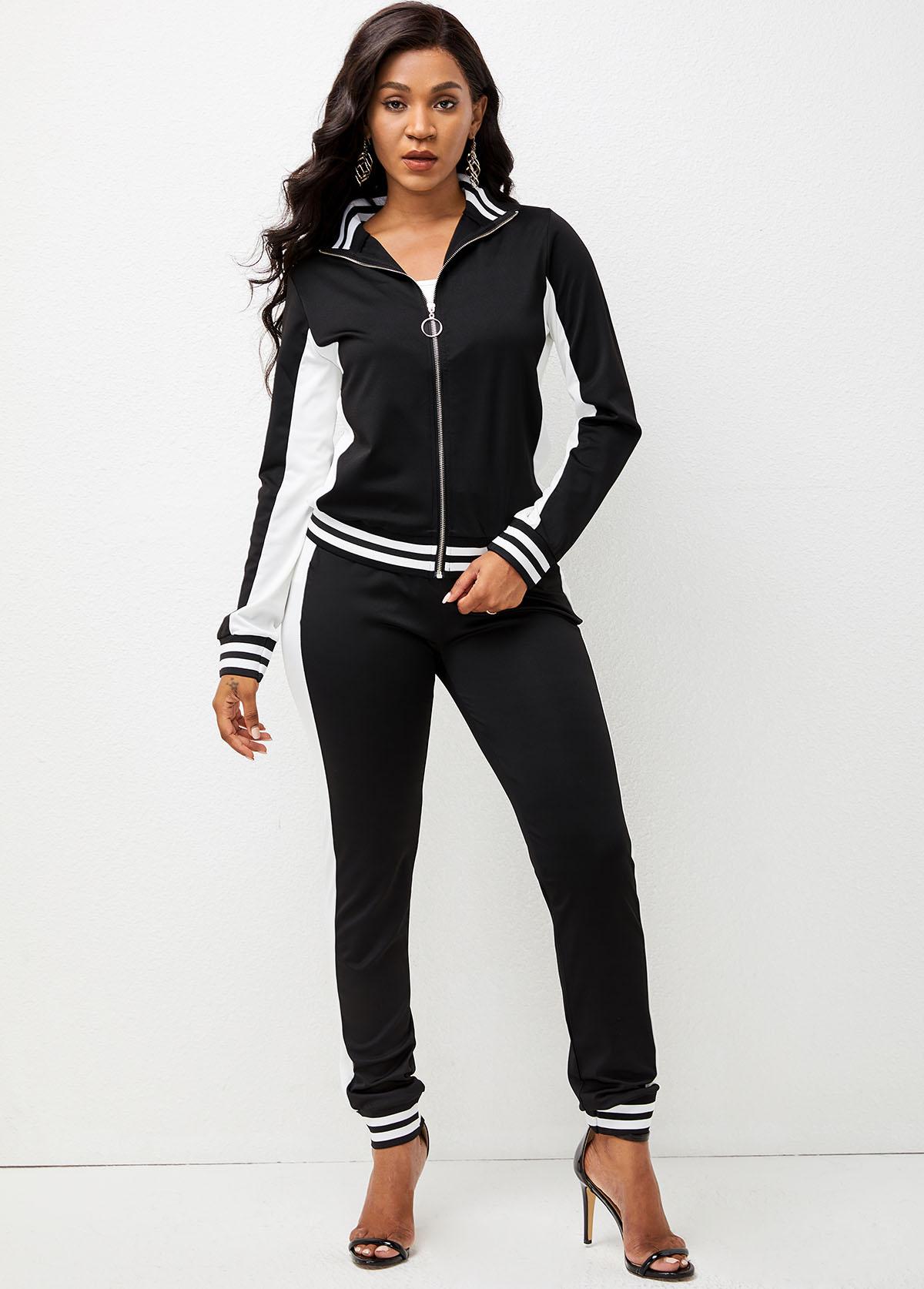 Zipper Closure Long Sleeve Striped Sweatsuit