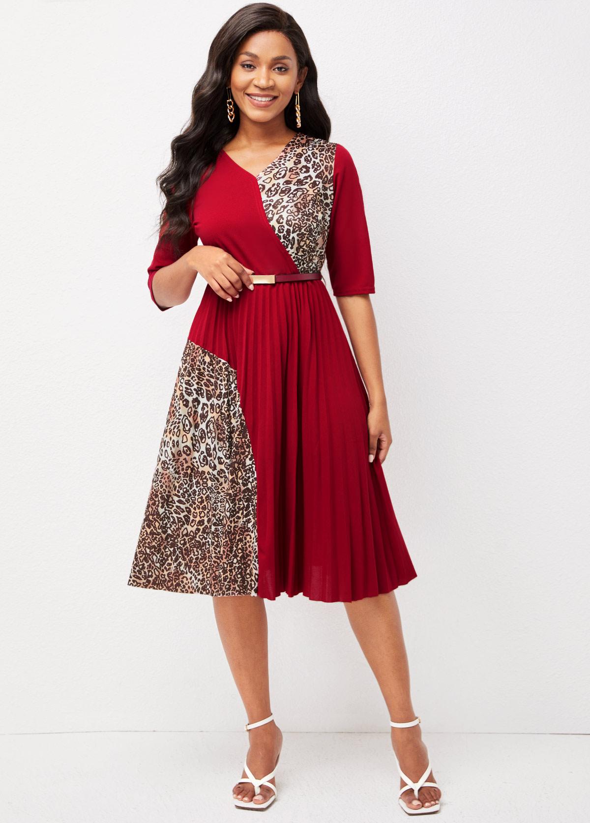 Leopard Contrast V Neck 3/4 Sleeve Dress