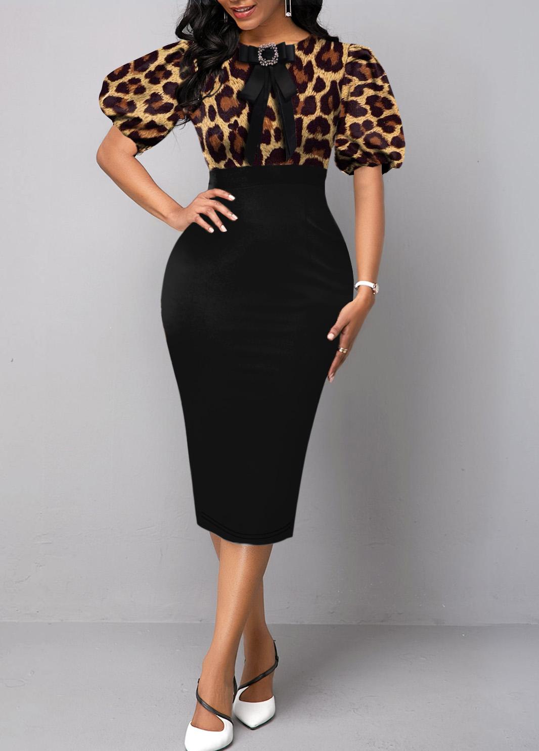 Puff Sleeve Leopard Bowknot Bodycon Dress