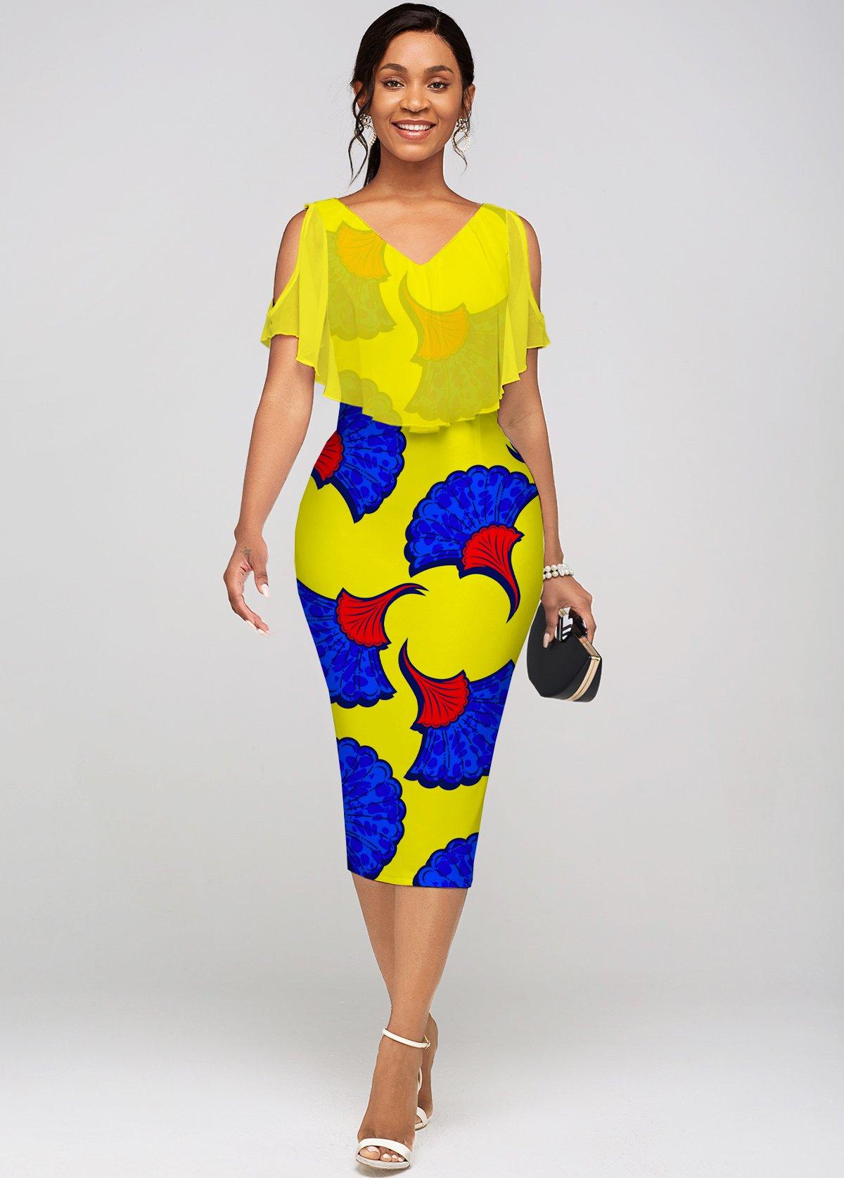 Chiffon Cape Printed V Neck Dress
