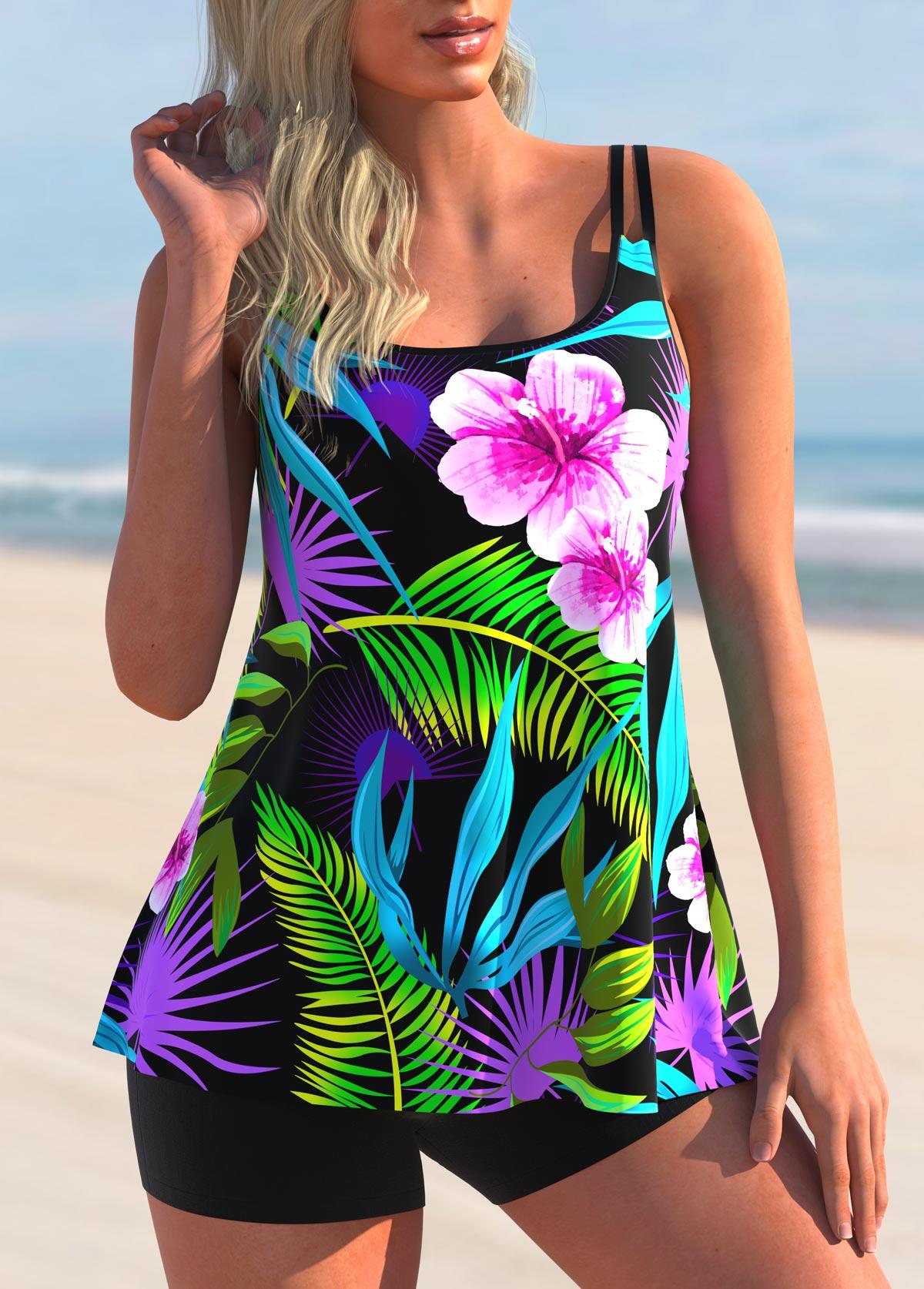 Floral and Leaf Print Tankini Set
