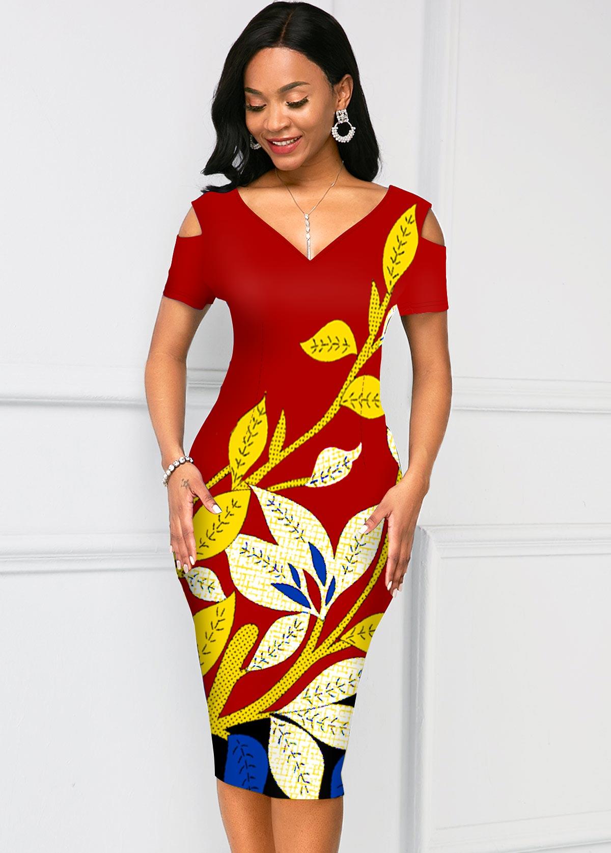 Short Sleeve V Neck Floral Print Dress
