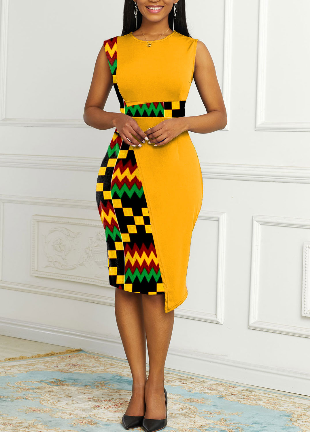 Tribal Print Round Neck Contrast Dress