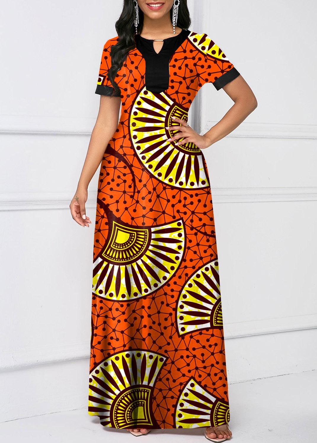 Tribal Print Keyhole Neckline Short Sleeve Dress